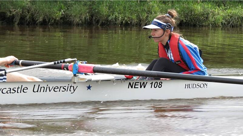 Newcastle Uni student Asa as a coxswain for the rowing team