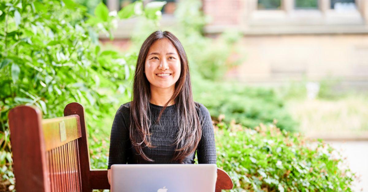 Student on Virtual Summer School on Laptop